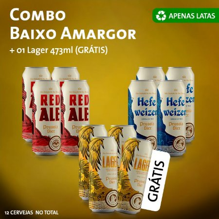 Combo Baixo Amargor Latas: 4x (Red, Weiss) + 3x Lager + Lager (Grátis)