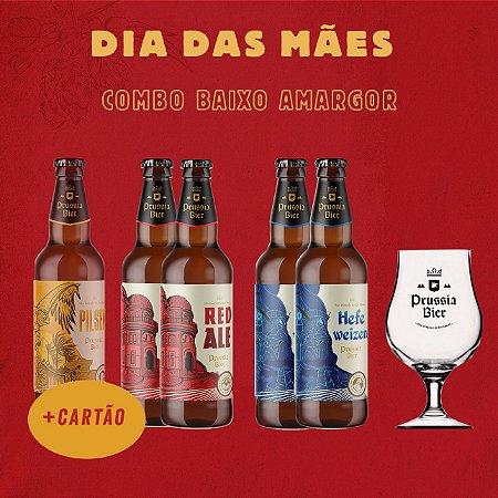 Combo Baixo Amargor (1x Pilsen, 2x Red, 2x Trigo + Taça Dublin)