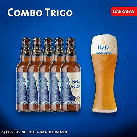 Combo Trigo: 5 Cervejas de trigo 500ml + Taça Weizen 680ml (Cartão de presente incluso)