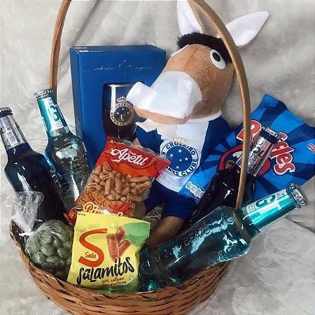 Cesta Bebidas com Cavalo Fantástico Cruzeiro e petiscos cod C007