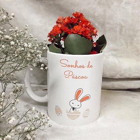 Caneca Personalizada com Mini Flor Kalanchoe Plantada - Entrega apenas BH e Região