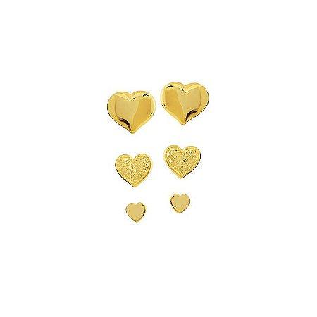 Brinco Trio de Coracões Folheado à Ouro - 2241