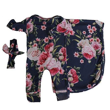 Saída Maternidade - Floral Marinho (Pra Florir)
