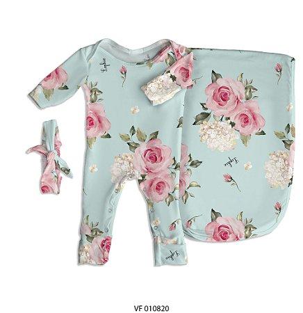 Estampa Floral Verde (Essência) personalizada com o nome do bebê