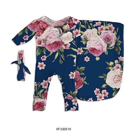Estampa Floral Marinho (Pra Florir) personalizada com o nome do bebê