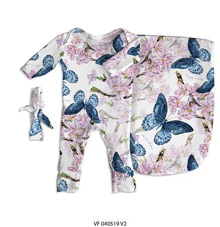 Estampa borboletas no jardim personalizada com o nome do bebê