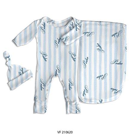 Estampa listrada personalizada com o nome do bebê