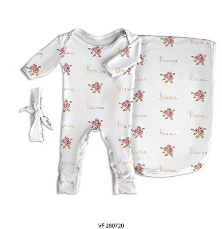 Estampa rosas personalizada com o nome do bebê