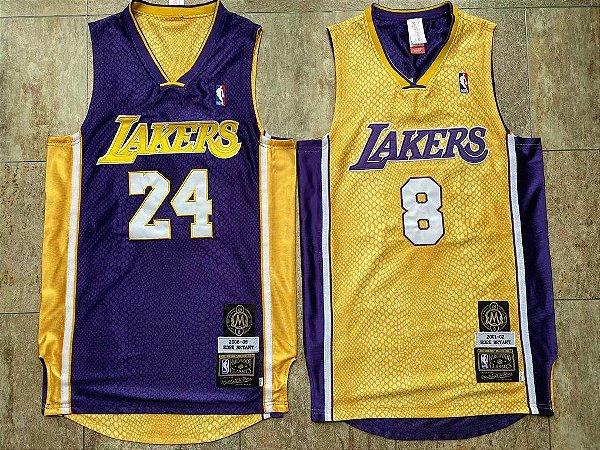 Camisa de Basquete Los Angeles Lakers Especial Hall da Fama DUPLA FACE - 8 dourada e 24 roxa Kobe Bryant (Modelo 2 em 1)