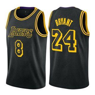 Camisa de Basquete Los Angeles Lakers Black Mamba Kobe Bryant 8 frente / 24 costas