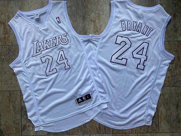 Camisa de Basquete Los Angeles Lakers Edição de Natal All White - 24 Kobe Bryant