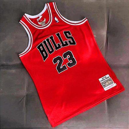 Camisa de Basquete Chicago Bulls Vermelho Brilhante 1997/98 Hardwood Classics M&N - 23 Michael Jordan