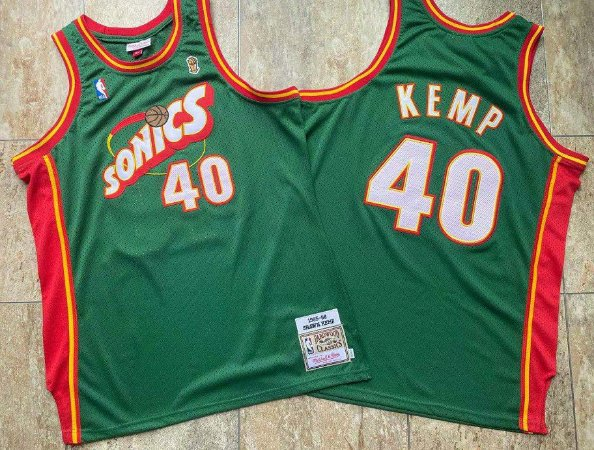 Camisa de Basquete Seattle Supersonics 1995/1996 Hardwood Classics M&N - Shawn Kemp 40