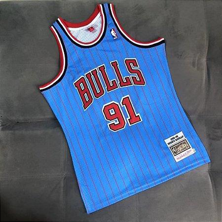 Camisa de Basquete Chicago Bulls Azul Bordado Denso Especial Hardwood Classics M&N - 91 Dennis Rodman