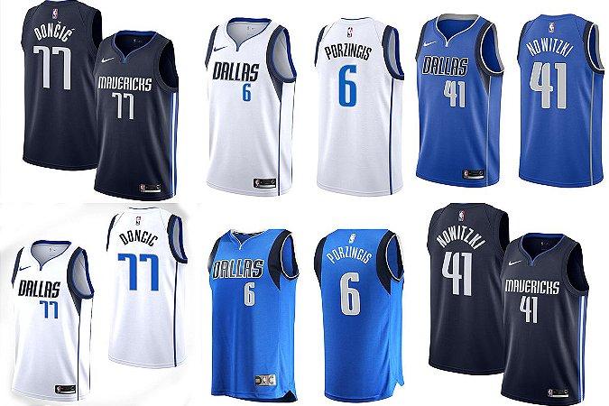 Camisa Dallas Mavericks - 41 Dirk Nowitzki - 77 Luka Doncic - 6 Porzingis