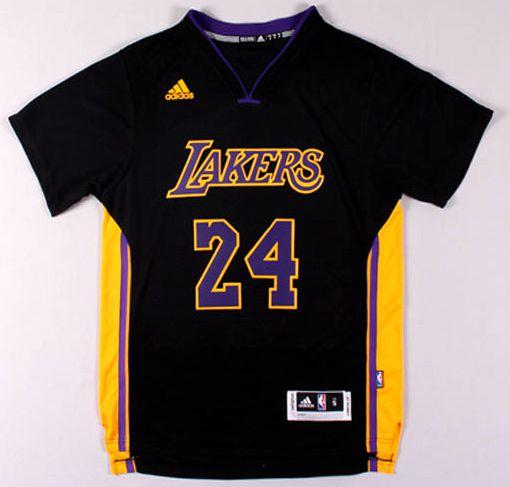 Camisas Los Angeles Lakers com Mangas- 24 Kobe Bryant