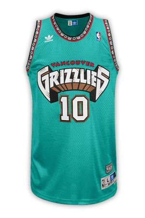 Camisas Retrô Vancouver Grizzilies - 10 Mike Bibby, 3 Abdur-Rahim, 50 Bryant Reeves