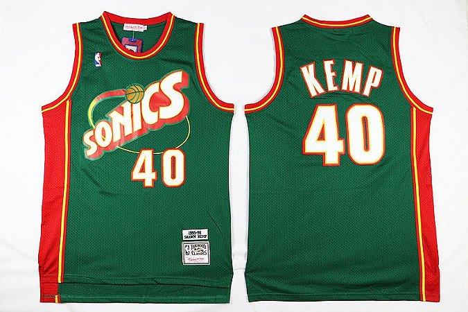 Camisa Retrô Seatle Supersonics - 20 Gary Payton, 40 Shawn Kemp