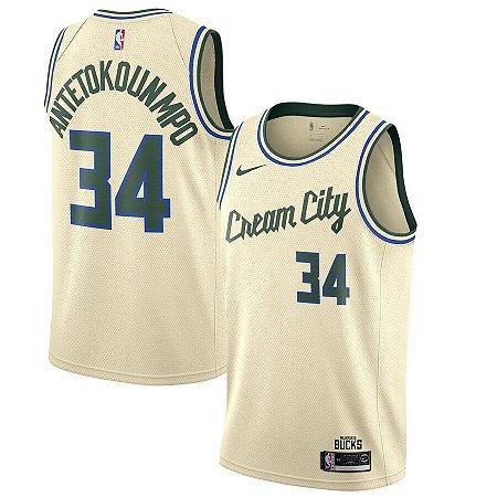 "Camisa Milwaukee Bucks city edition ""Cream City"" - 34 Giannis Antetokounmpo"