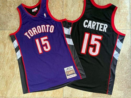 "Camisas de Basquete Toronto Raptors ""Slam Dunk"" Hardwood Classics M&N - 15 Vince Carter, 1 McGrady"