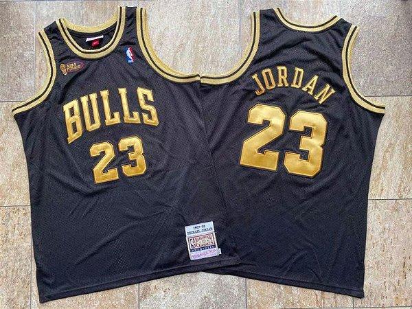 Camisa de Basquete Chicago Bulls Black Gold Hardwood Classics M&N - 23 Jordan