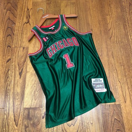 Camisa de Basquete Derrick Rose Chicago Bulls Authentic Green 2008/2009 Alternate