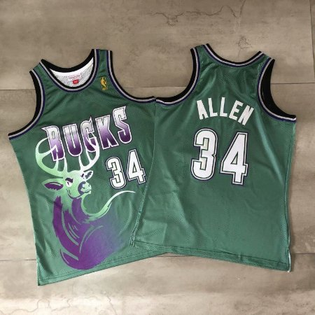 Camisa de Basquete Milwaukee Bucks Hardwood Classics M&N - 34 Ray Allen