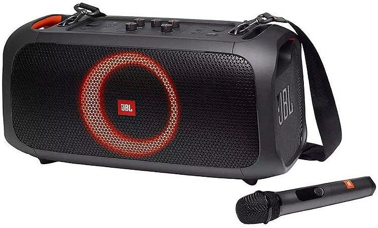 Caixa de Som Amplificada Bluetooth com Microfone Sem Fio JBL Party Box On The Go 100W Preta