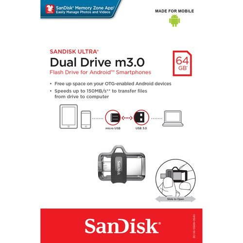 Pen Drive Sandisk 64GB Ultra Dual Drive USB 3.0 para Android