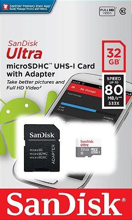 Cartão MicroSDHC Sandisk 32GB Classe 10 Ultra 80MB/s