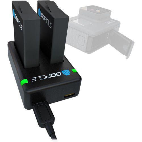 Carregador de Bateria Duplo Gopole + 2 Baterias para GoPro Hero5 e Hero6 Black