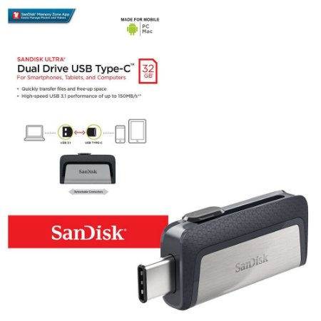 Pen Drive Sandisk 32GB Ultra Dual Tipo-C Drive USB 3.1 150MB/s para Android, PC e Mac