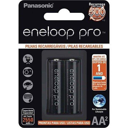 Pack com 2 Pilhas Recarregáveis Panasonic Eneloop Pro NI/MH Tipo AA 2550mAh