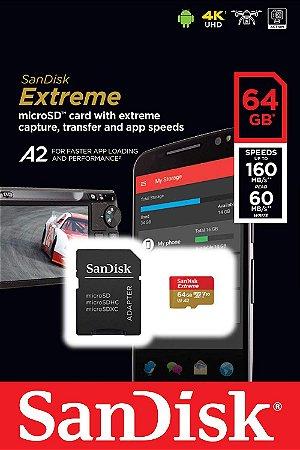 Cartão MicroSDXC Sandisk 64GB Classe 10 Extreme A2 160-60MB/s