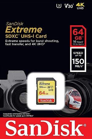 Cartão SDXC Sandisk 64GB Classe 10 Extreme 150MB/s