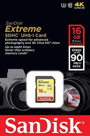 Cartão SDHC Sandisk 16GB Classe 10 Extreme 90MB/s