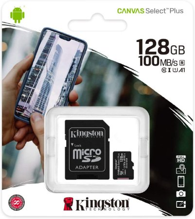 Cartão MicroSDXC Kingston 128GB Classe 10 Canvas Select Plus A1 100MB/s