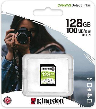 Cartão SDXC Kingston 128GB Classe 10 Canvas Select Plus 100MB/s