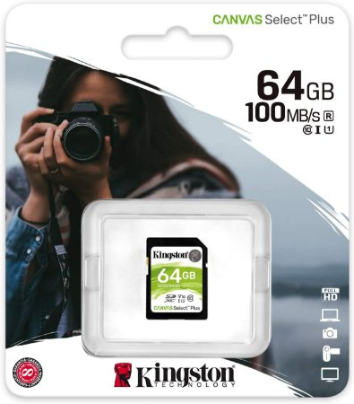 Cartão SDXC Kingston 64GB Classe 10 Canvas Select Plus 100MB/s