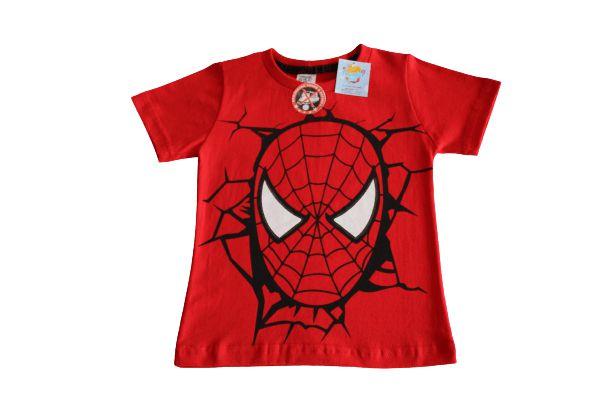 camiseta personagens vermelha homem aranha