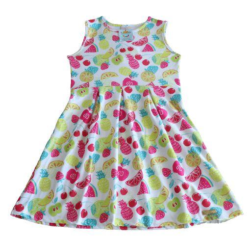 vestido frutinhas Abrange com cinto rosa tamanho 8