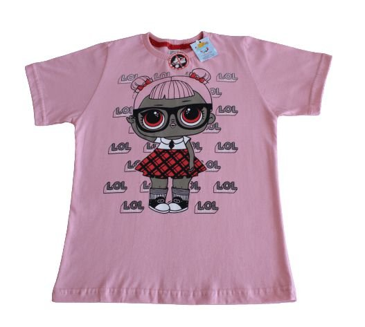 camiseta personagens lol rosa tamanho 10