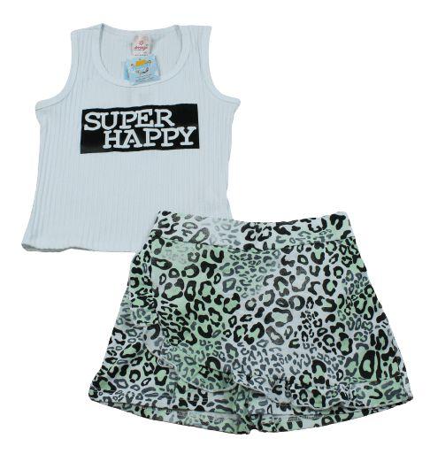 Conjunto short saia e blusa canelada abrange tamanho 6