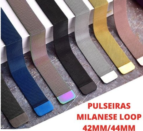 Pulseira Milanese Loop Em Aço Pulseira Metal 42mm 44mm Pulseira Para Smartwatch A Pronta Entrega Já No Brasil