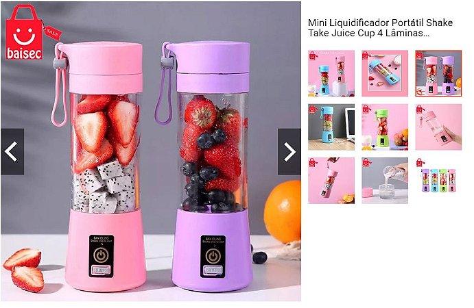 Mini Liquidificador Portátil Shake Take Juice Cup 4 Lâminas Recarregável