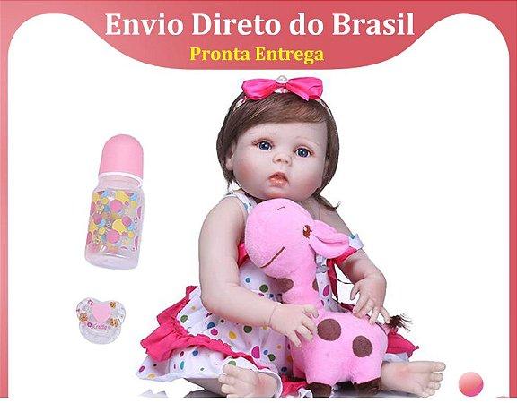 55cm reborn bebê boneca menina com olhos azuis moda fibra cabelo corpo silicone pode dar banho