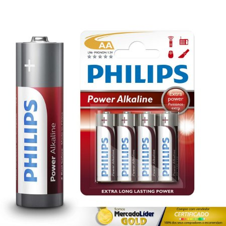 8 Pilhas AA Alcalinas Philips LR03P4B197 LONG LASTING POWER