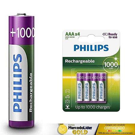 8 Pilhas Palito AAA Recarregaveis Philips L6B4RTU10/97 HR6 MIGNON 1.2V