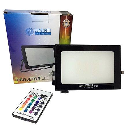 Projetor Refletor Led Externo Multicolor Controle Remoto 30w