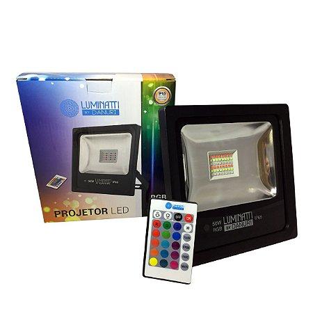Projetor Refletor Led RGB Externo 50W Controle Remoto